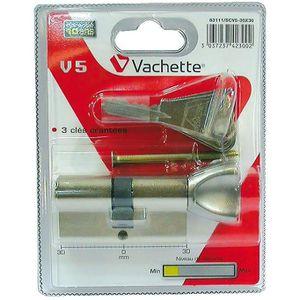 SERRURE - BARILLET Cylindre de sureté à bouton V5 Vachette 30x30mm La
