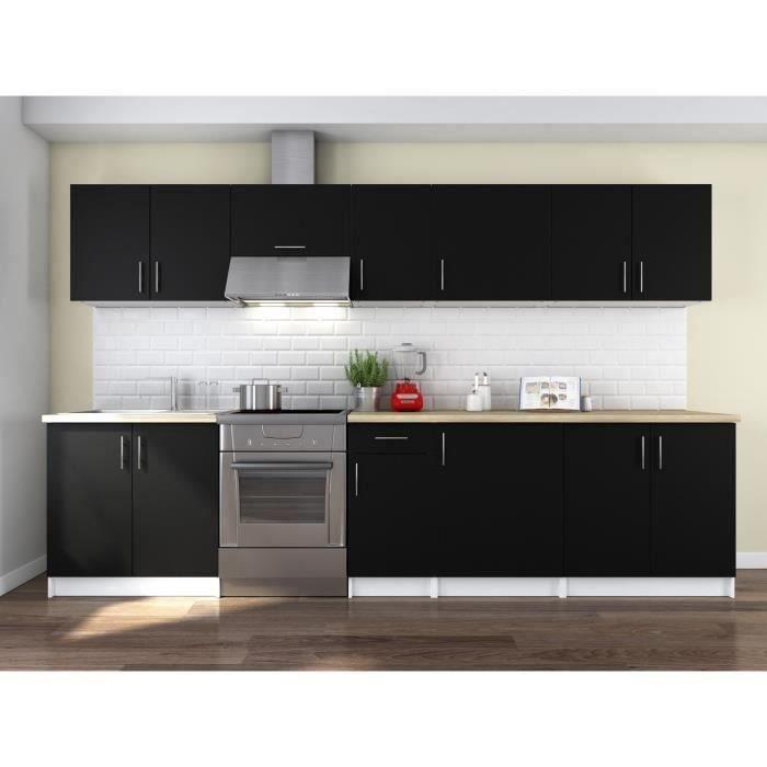 OBI Cuisine complète L 3m20 - Noir mat