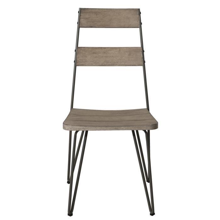 Lot de 2 chaises scandinaves en teck et métal JARDITECK
