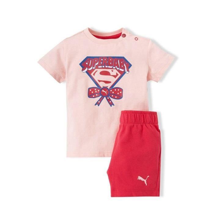 331d87bc01318 PUMA Ensemble T-shirt Short Super Baby Bébé Fille Rose et rouge ...