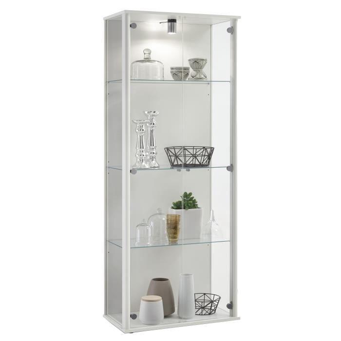 Panneaux particules mélaminés décor blanc - L67,5 x P36 x H171 cm - 2 portes, 3 tablettes verre et luminaireVITRINE - ARGENTIER - VAISSELIER