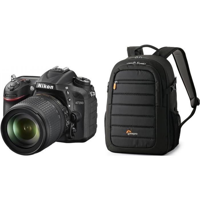 NIKON D7200 Appareil photo numérique Réflex avec objectif 18-105VR + Sac à dos photo
