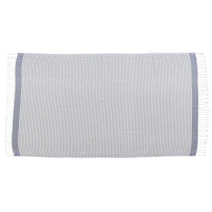 DONE Plaid LOUNGE STRIPES - Composition : 100% Coton - Coloris : MARINE - Dimensions : 100x180cmCOUVERTURE - EDREDON - PLAID