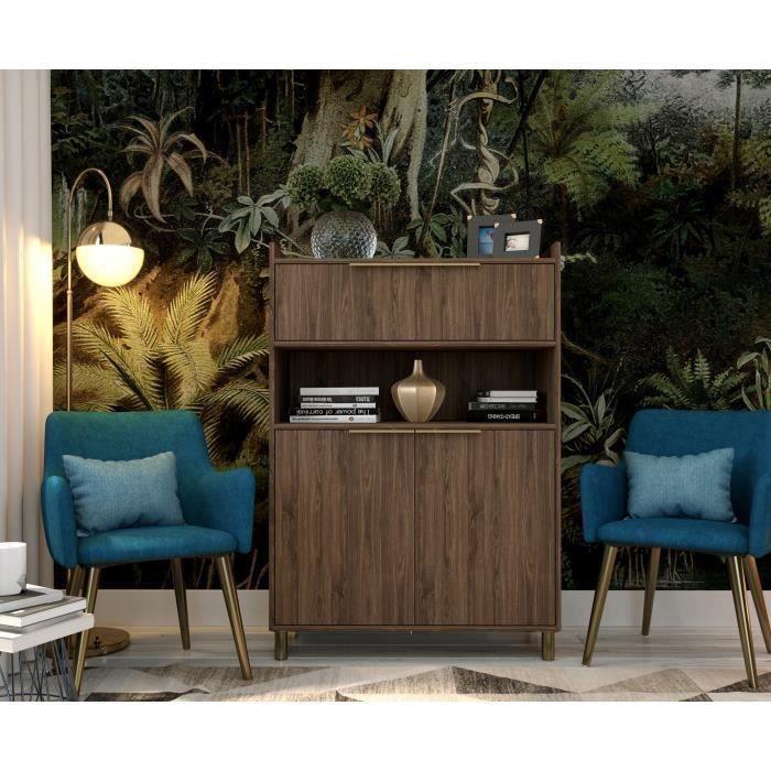 GABY Buffet Haut décor bois - 2 Portes - L 90 cm
