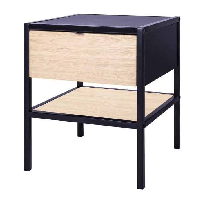 MINSK Table de chevet 1 tiroir - Imitation bois - L 45 x P 45 x H 50 cm