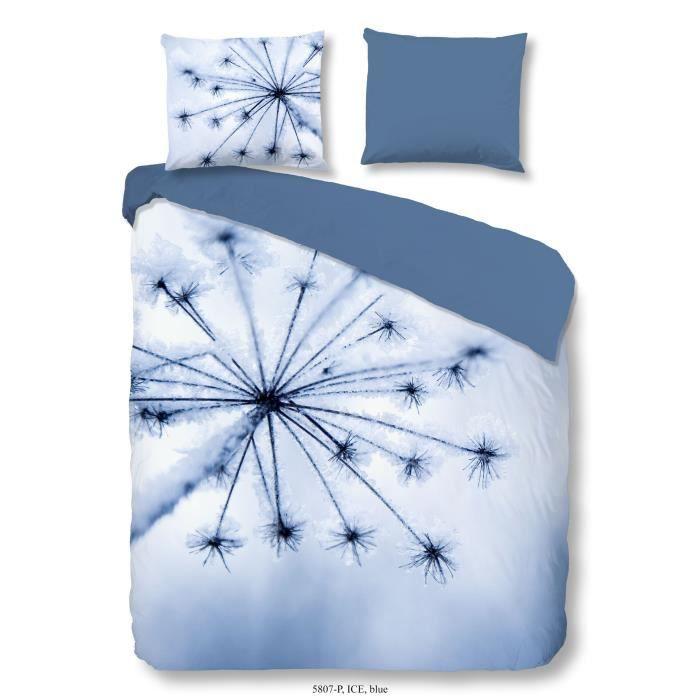 100% coton - 1 housse de couette 200 x 200 cm + 1 taie d'oreiller 60 x 70 cm- Bleu glacierPARURE DE COUETTE