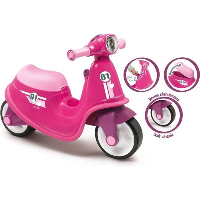 SMOBY Porteur Scooter Rose + Roues Silencieuses