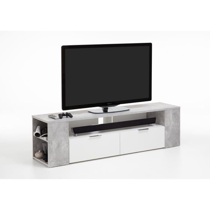 Panneaux particules mélaminés décor effet béton et blanc - L 180 x P 40 x H 50 cm - 2 tiroirs, 6 compartimentsMEUBLE TV - MEUBLE HI-FI