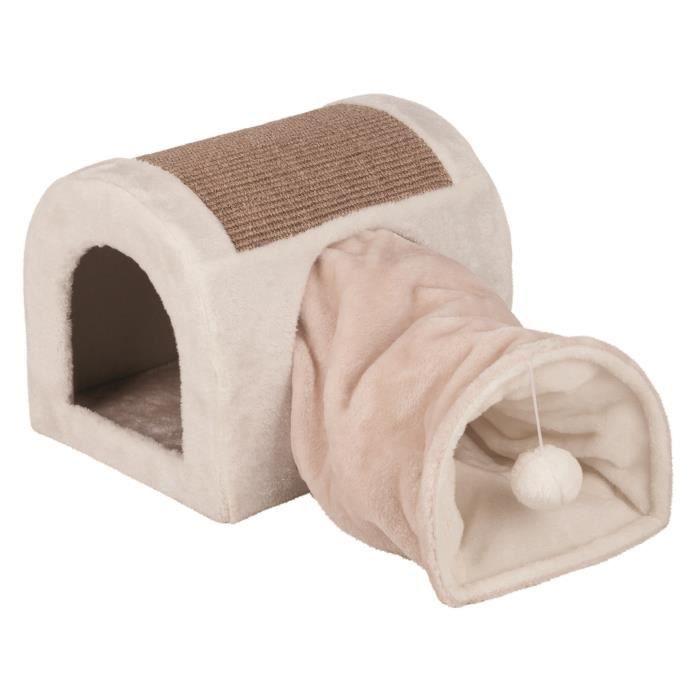 TRIXIE Abri douillet Ladina avec tunnel de jeu - 32x32x40cm - Gris clair et taupe - Pour chat