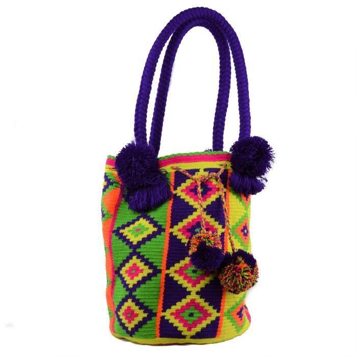 Wayuu Sac - Grand Mochila - Design - Hobo Pom Pom - 3009 RAOGU