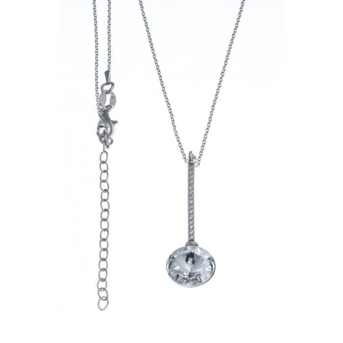 Collier argent rhodié - zircons et cristal de swarvoski - 40+5cm Gris