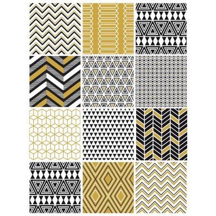 Planche Carreaux De Ciment Azteque Moutarde Adhesif Pour - Carrelage pas cher et tapis motif aztèque