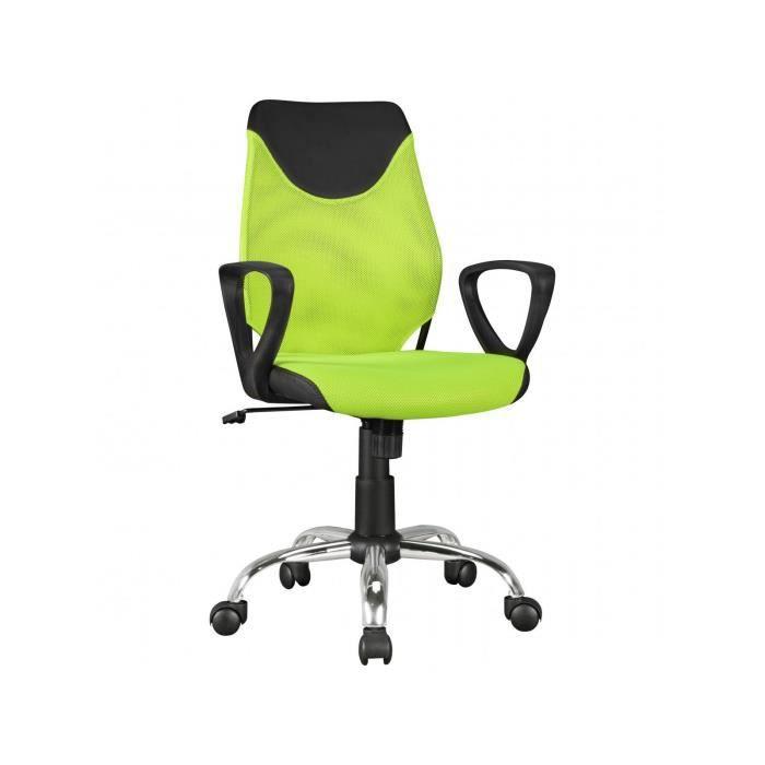 Chaise Ergonomique Pour Enfant Reglable En Hauteur A 5 Roulettes Coloris Vert Et Noir