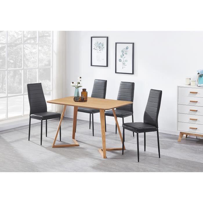Style Manger En Table Chêne Moderne4 Noires Ensemble Contemporain À Cuir Effet Simili Chaises 08nvmNw
