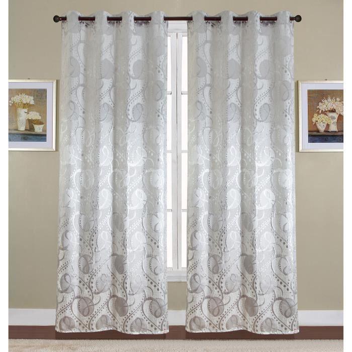 Paire de double rideaux 140x260 cm Blanc - Achat / Vente rideau ...