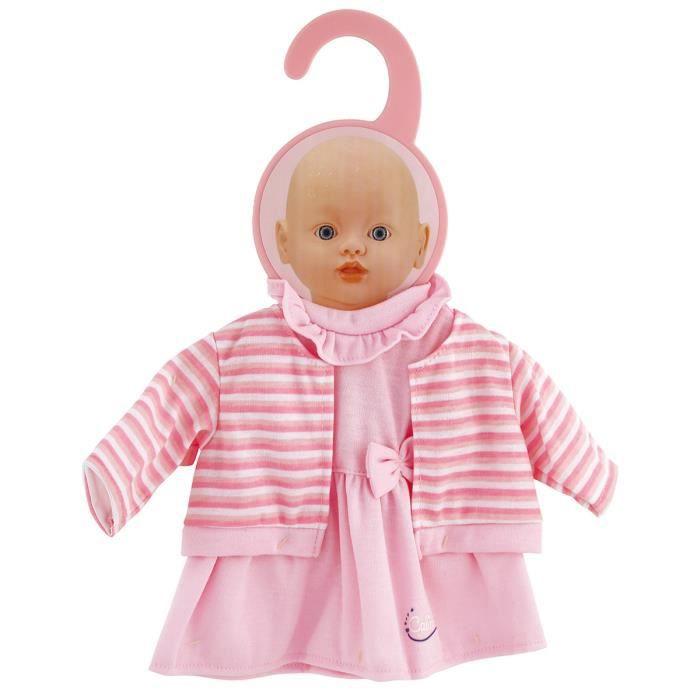 c0e3c3e8087741 Vêtement pour poupon 32-36 cm   Robe rose avec gilet aille Unique Coloris  Unique