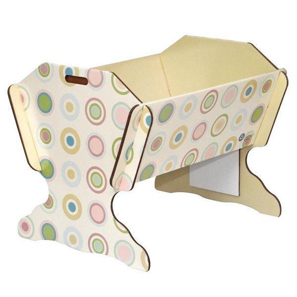 berceau en carton motifs cercles avec matelas blanc achat vente berceau et support. Black Bedroom Furniture Sets. Home Design Ideas
