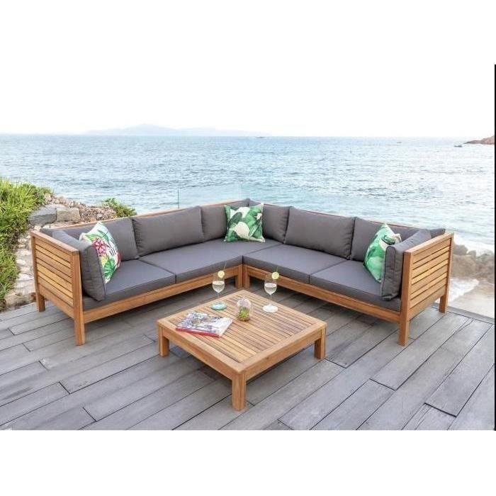 HAO Salon de jardin 5 places en bois d\'eucalyptus - un canapé ...