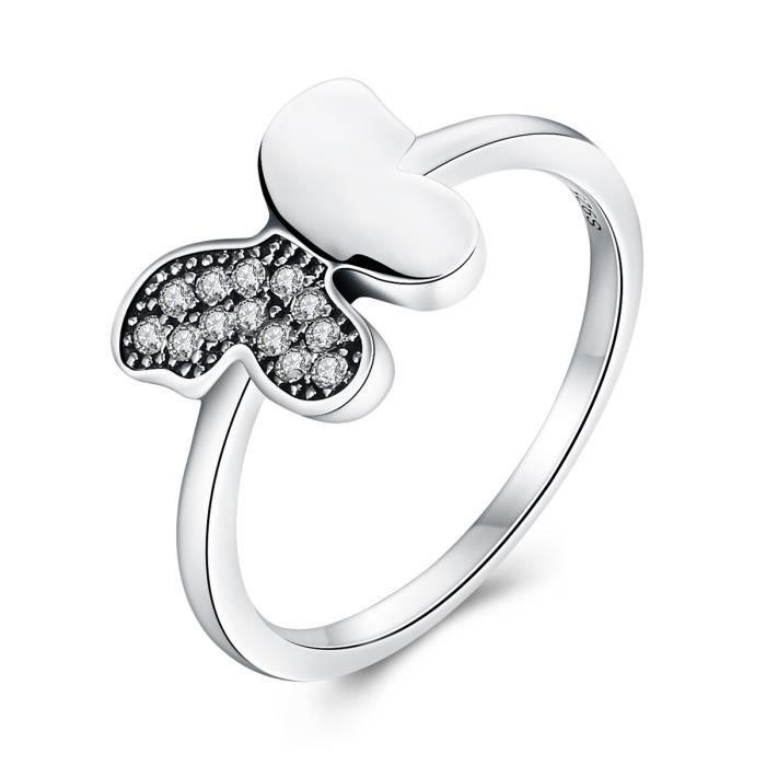 d66719b98af6c Bague Femme Argent Sterling 925 Femme Originale Papillons Simple pour  Mariage Alliance Femme Cadeau 7617