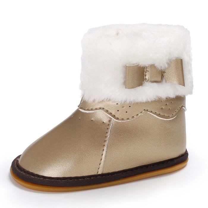 Tout Chaussures Bowknot Bébé Doux Botte Bottes or petits Caoutchouc Souple De Laine Semelle Neige Berceau wRP7B