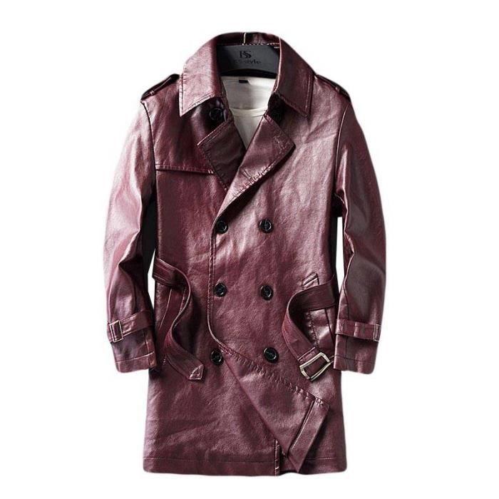 065be2e756eb Mode Trench Coat Homme en Simili Cuir Mi-Longue Slim Fit Veste Mi-Longue  Homme Mi Saison