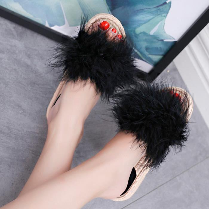 Hairball Chaussures Slipper De Sandales Noir Mode Talon Plat Femmes Intérieur Plage Extérieur aApwxFgn