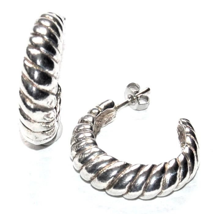 SCOOTER Boucles doreilles anneaux créoles plaqué argent bijou