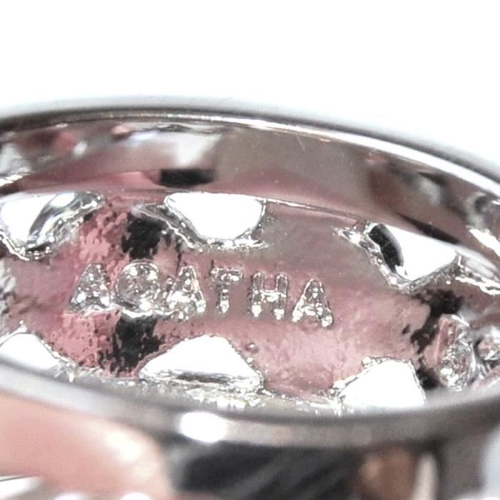 AGATHA Bague plaqué argent cristal blanc T 50 bijou