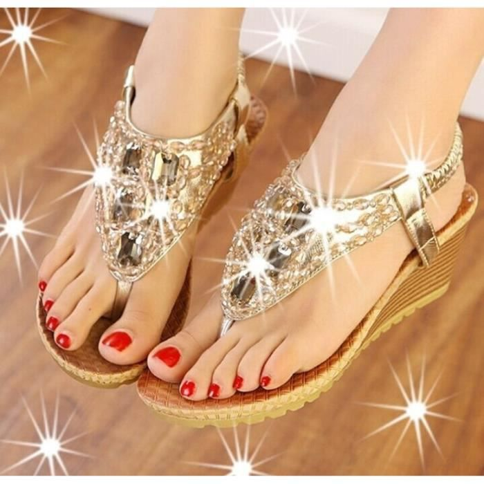 Sandales femmes d'été de haute qualité de la mode des femmes de strass