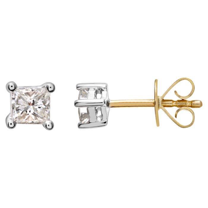 Revoni - Boucles d'oreilles clous en or jaune 18 carats et diamants- REVCDPE04419Y18JPK