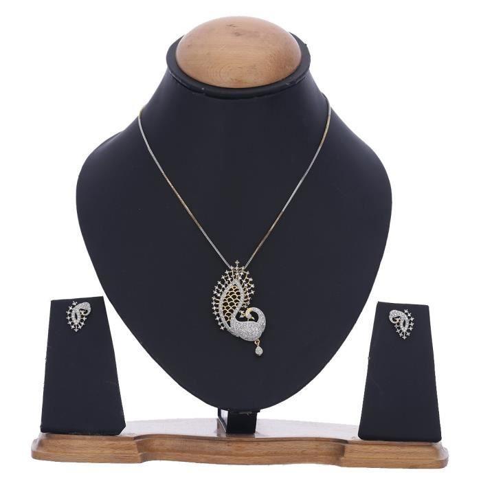 Femmes Peacock Desing américain diamant plaqué or Ensemble pendentif avec boucle doreille Pour -OB791