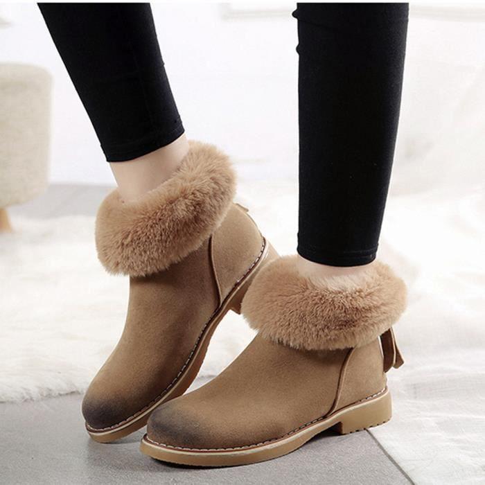 Hiver Bottes En De Bottes Femmes Chaud Neige kakhi Mode Peluche Cheville Zips Chaussures 5txPYwRYAq
