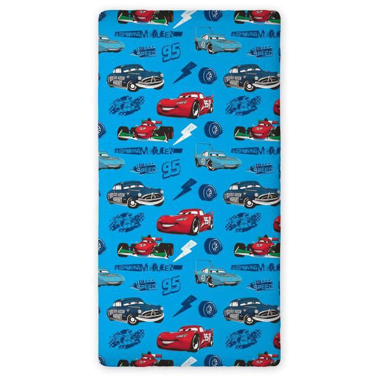 Cars Flash McQueen drap housse 90x200 CM 100% Coton Idée Déco