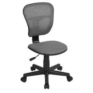 CHAISE DE BUREAU FLYINGO Chaise de bureau - Tissu gris - Style clas