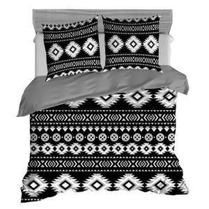 PAVILLON d'INTERIEUR Parure de couette Maya 100% coton - 1 housse de couette 220x240 cm + 2 taies d'oreiller 65x65 cm noir