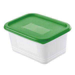 SUNDIS Lot de 4 Boîtes pour congélation Domino Freeze 7552003 0,75 L 15,7x11,8x13,2 cm transparent et vert