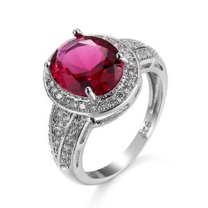 CHEVALIERE Coupe ovale rubis mariage bague 18k blanc plaqué o