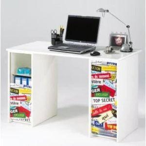 CAISSON DE BUREAU  Bureau contemporain blanc mat et imprimé top secre