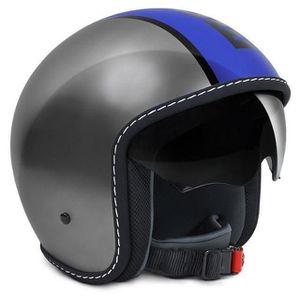 CASQUE MOTO SCOOTER MOMO DESIGN Casque Jet Blade Gris Métal Bleu Logo
