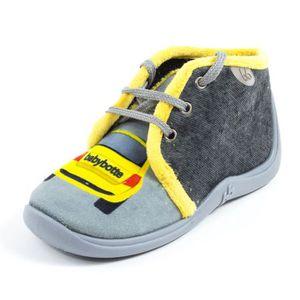 design de qualité e219f d633d Babybotte Chaussons bébé garçon à lacets MAMOUT gris motif ...