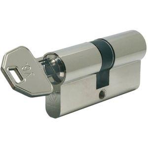SERRURE - BARILLET Cylindre sécurité V6 - nickelé - 30x40 mm + 4 clés