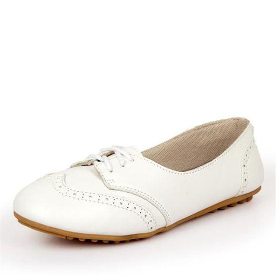 Chaussures Femmes Cuir Occasionnelles Leger Chaussure BXX-XZ043Blanc39 Blanc Blanc - Achat / Vente escarpin