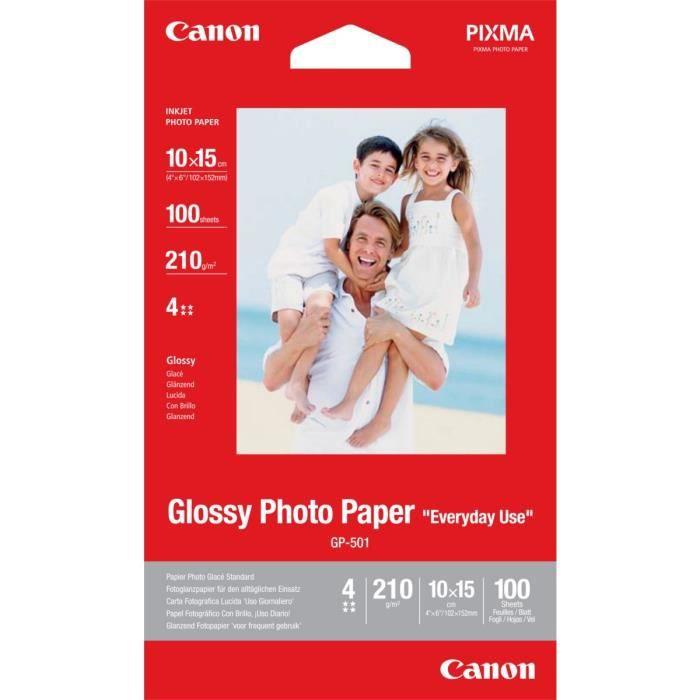CANON Papier Photo Glacé  GP-501 - 210g - 100 Feuilles - 10x15 cm