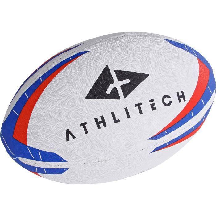 ATHLI-TECH Ballon de rugby - Taille 5 - Mixte - Noir et Rouge