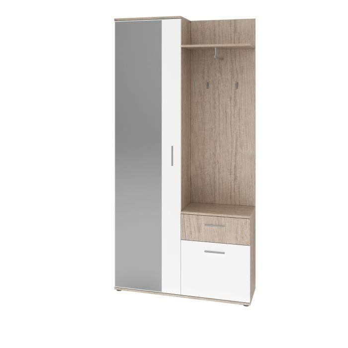 astus armoire d 39 entr e style contemporain m lamin e d cor ch ne monumental et blanc l 97 cm. Black Bedroom Furniture Sets. Home Design Ideas