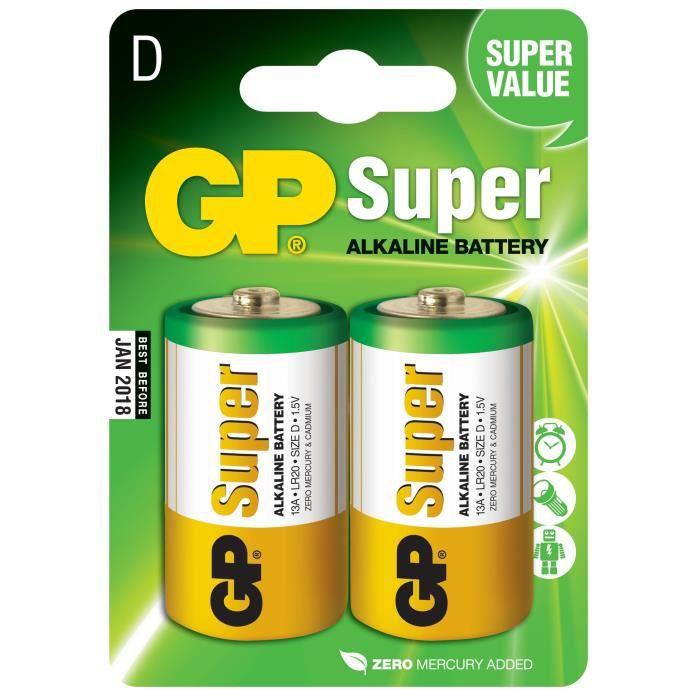 PILES SUPER ALCALINE GP 13AE-2U2 /D/ LR20 / Blister de 2 piles