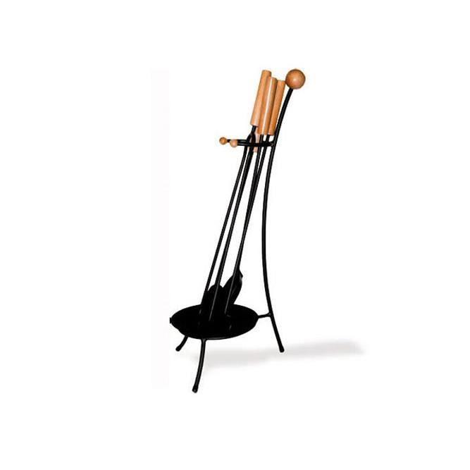 DELTA Serviteur Cléo en acier noir et bois avec 4 accessoires