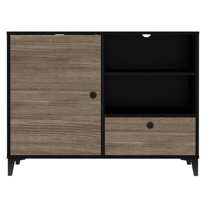 FINLANDEK Buffet bas JONES - Industriel - Noir mat et décor chêne - L 109,8 cm