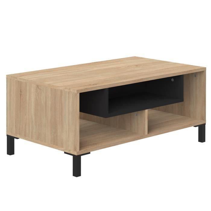 ODAIBA Table basse - Contemporain - Décor chêne clair et noir - L 89,5 cm
