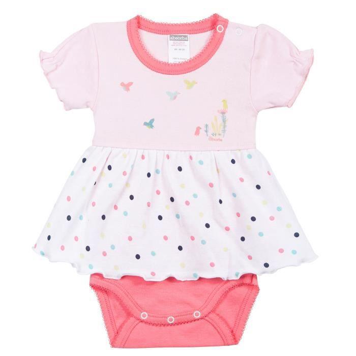 a83e2328a9813 Robe-body bébé manches courtes Fille ABSORBA - 100% coton - Blanc et rose  dragée à pois - motif oiseaux